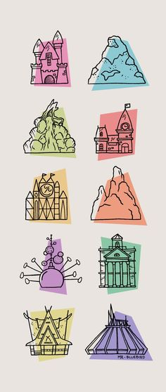 Disneyland Icons: Sleeping Beauty Castle, Matterhorn, Splash Mountain, Main Street Train Station, It's a Small World, Thunder Mountain, Astro Blasters, The Haunted Mansion, The Enchanted Tiki Room, and Space Mountain
