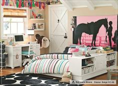 Horse Bedroom Decor, There are many themes to adapt for a bedroom decor; a very easy established decor is the Western horse bedroom decor. This decoration is as easy to obtain as looking in your atti Horse Themed Bedrooms, Bedroom Themes, Bedroom Decor, Bedroom Ideas, Horse Rooms, Themed Rooms, Bedroom Designs, Modern Bedroom, Teenage Girl Bedrooms