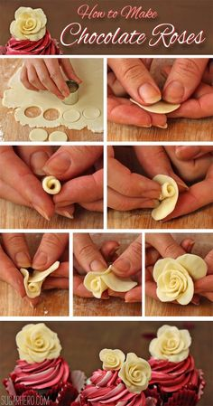Cupcakes How to make Chocolate Roses. This would be perfect for almost any special occasion.How to make Chocolate Roses. This would be perfect for almost any special occasion. Cake Roses, Fondant Flowers, Rose Cake, Sugar Flowers, Cupcake Rose, Cupcake Cakes, 3d Cakes, Fondant Cakes, Baking Cupcakes