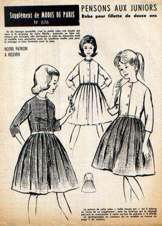 Robe, manches trois-quart, corsage tout simple sans col, boutonnage devant, jupe à plis plats, ceinture. Taille 12 ans.  Patron à décalquer, non découpé, complet. Explicati - 7620386