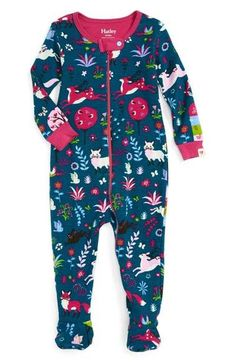 Hatley 'Mystical Forest' Fitted One-Piece Footie Pajamas (Baby Girls) Newborn Girl Dresses, Baby Dress, Baby Girl Pajamas, Baby Girls, Toddler Pajamas, Baby Boy, Toddler Outfits, Kids Outfits, Baby Outfits