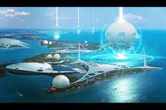 """Hydro generators """"Jellyfish Omega"""" by Albert Ramon Puig Sci-Fi CGSociety Space Fantasy, Fantasy City, Fantasy World, Futuristic City, Futuristic Technology, Landscape Concept, Fantasy Landscape, Unique Architecture, Futuristic Architecture"""