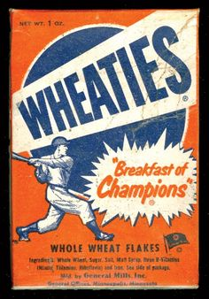 1951 Wheaties cereal box with image of baseball player.  The backs of these boxes featured baseball players such as Stan Musial, Bob Feller, and Ted Williams.