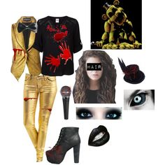 Outfit 59: Golden Freddy from Five Nights At Freddy's by mandi-hatter on Polyvore featuring moda, Vero Moda, Ann Demeulemeester, Jeffrey Campbell, Freddy, fivenightsatfreddy, fnaf and goldenfreddy