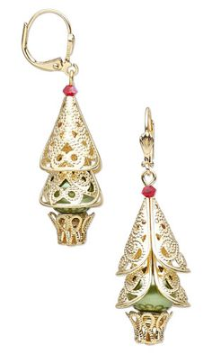 Earrings with Gold-Plated Brass Cones and Bead Caps, Glass Pearl Beads and SWAROVSKI ELEMENTS