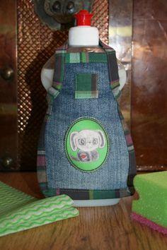 Spüli Schürze Dekoration für Spülmittelflaschen Jeans grün
