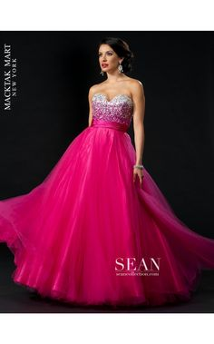 Sean Couture 70649 strapless long hot pink dress #prom