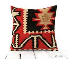 RED BLACK Boho Pillow Kilim pillow Cover Antique by pillowcome, $49.00