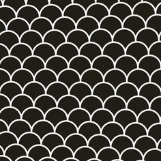 Retro Nero Scallop Glossy Is A Black Porcelain Tile In A Fish Scale Pattern. Prearranged And Easy To Install As Flooring And Wall Tile Throughout The Home. Mosaic Tile Sheets, Mosaic Tiles, Fish Scale Tile, Gifs, Ceramic Subway Tile, Black Tiles, Gif Animé, Stone Mosaic, Optical Illusions