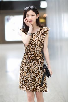 2014 new Korean women's leopard high waist round neck short sleeve dress wholesale $9.40