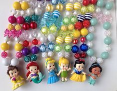 Disney Princess Inspired Chunky Necklace.. Belle, Ariel, Cinderella, Jasmine, Snow White, or Tinkerbell..Kids Necklace..Chunky Bead Neckalce