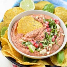 Bean dip - Easy + Healthy + Vegan with Roasted red pepper.