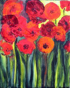 Red Poppies FINE ART PRINT  8x10 red orange green by by devikasart