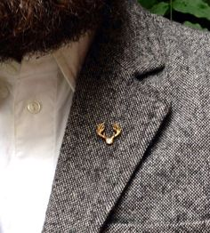 Antlers Brass Lapel Pin | Handcrafted from raw brass and polished to a perfect shine, th... | Brooches & Lapels