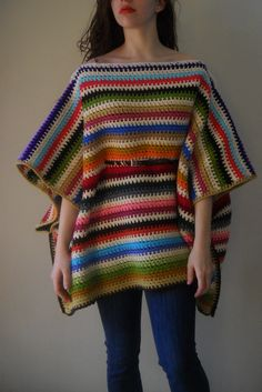 crochet Folk poncho ---- this is very cool, but i don't know if i could pull off wearing those horizontal stripes :)