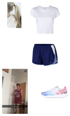 """""""morning runs w/Nate Maloley"""" by mell-rosee ❤ liked on Polyvore featuring NIKE and RE/DONE"""