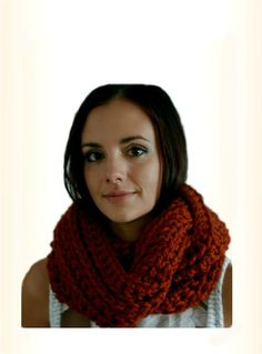 Infinity Scarf Cowl Extra Long Crochet Circle Loop Scarf in Pumpkin Spice Burnt Orange Wool by Crochet Wool, Chunky Crochet, Chunky Infinity Scarves, Crochet Circles, Fall Scarves, Loop Scarf, Handmade Shop, Burnt Orange, Wool Blend
