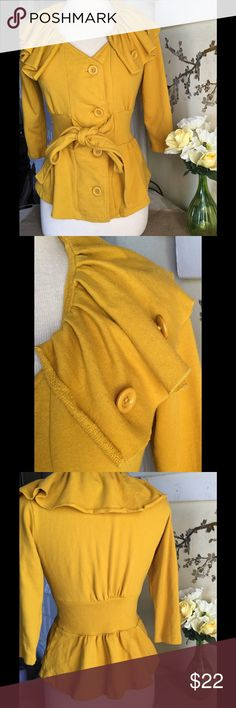 Cute Mustard Yellow Autumn Sweater SZ XS Cute Yellow Autumn sweater. Perfect pre owned condition!! Length 25in Bust 30in Waist 30in Sleeves 15in.  I always consider offers and offer free shipping on Merc! All you have to do is type in the exact title into the Merc search bar Sweaters