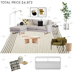 I like the color palette of the 1st option: neutrals with some natural wood, olive, black, and cream.
