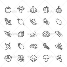 25 Outline Stroke Vegetable Icons