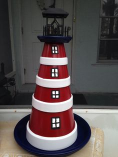 Clay pot lighthouse! OMG Caroline wouldn't Meme're love this??!!