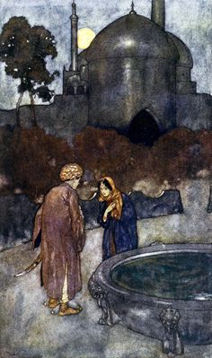 """The lady advanced to meet him (from 'The Story of the Wicked Half-Brothers'). """"Stories from the Arabian Nights"""" (1907) illustrated by Edmund Dulac"""