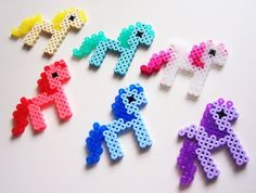 Cute Kawaii Pixel Ponies Perler Beads - Yellow Red Green Blue Purple White & Pink Glitter