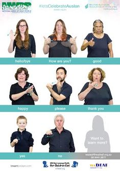 NWDP is an annual celebratory event in the Deaf Community, celebrating Auslan and the culture of Deaf people. Sign Language Book, Sign Language For Kids, Sign Language Phrases, Sign Language Alphabet, Australian Sign Language, British Sign Language, Libra, National Week, Deaf People