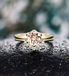 Morganite engagement ring set Diamond curved wedding band vintage prong set ring yellow gold Wedding ring set unique anniversary ring set Wedding Ring Sets Unique, Wedding Rings Sets Gold, Curved Wedding Band, Diamond Wedding Rings, Wedding Bands, Morganite Engagement, Engagement Ring Settings, Engagement Rings, Prong Set