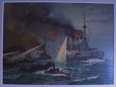 TAULU meri taistelu sotalaivat antiikki vanha kuva 71x59cm - Huuto.net