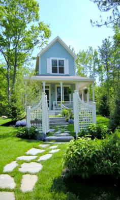 Cozy blue guest cottage in Maine. Beautiful gates and porch on this narrow little cottage Little Cottages, Small Cottages, Cabins And Cottages, Little Houses, Small Houses, Blue Houses, Tiny House Living, Cottage Living, Cottage Homes