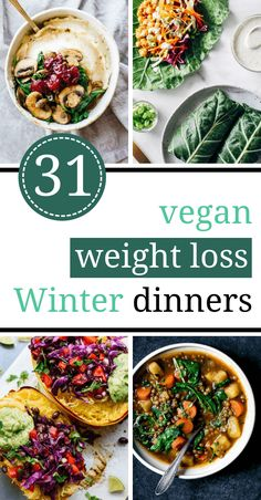These Vegan Clean Eating Recipes for Weight Loss are the perfect Winter diet din. These Vegan Clean Eating Recipes for Weight Loss are the perfect Winter diet dinners. They're easy, healthy, low-carb, plant-based, dairy-free and full of veggies. Vegan Dinners, Vegetarian Meals, Healthy Dinner Recipes, Diet Recipes, Healthy Snacks, Delicious Meals, Vegan Recipes Healthy Clean Eating, Vegan Keto Recipes, Cooking Recipes