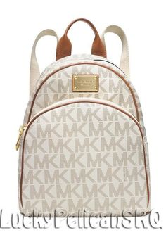 Michael Kors MK Signature Small Backpack PVC Vanilla Beige NWT #MichaelKors #BackpackStyle
