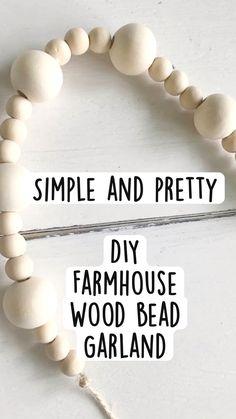 Garland Ideas, Diy Garland, Garlands, Diy Home Crafts, Diy Crafts To Sell, Holiday Crafts, Wood Bead Garland, Beaded Garland, Burlap Monogram