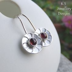 Pink Tourmaline Daisies - Sterling Silver Earrings - Gemstone Daisy Flower Discs £32.00