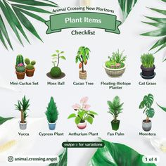 Animal Crossing Cats, Animal Crossing Guide, Animal Crossing Qr Codes Clothes, Animal Crossing Pocket Camp, Cypress Plant, Yucca Plant, Cat Grass, Palm Plant, Garden Animals