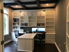 Nov 2018 - Central Indiana Custom Home Office Cabinets. Serving Carmel, Fishers, Westfield, Noblesville, and the Indianapolis Metro. Home Office Space, Home Office Desks, Home Office Furniture, Office Decor, Small Office, Office Ideas, Double Desk Office, Basement Home Office, Office Lounge