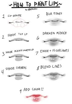 a quick n simple tutorial for how to paint cute lips - Drawing Techniques - Digital Painting Tutorials, Digital Art Tutorial, Art Tutorials, Eye Drawing Tutorials, Drawing Techniques, Drawing Tips, Drawing Drawing, Figure Drawing, Anime Mouth Drawing