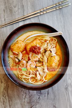 CURRY LAKSA - noodle dish with shrimp tofu chicken - Malaysian and Chinese