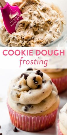 How to make creamy chocolate chip cookie dough buttercream frosting with safe-to-eat cookie dough made from heat-treated flour. Recipe on sallysbakingaddiction.com #cookiedough #frostingrecipes #buttercream Homemade Desserts, Fun Desserts, Delicious Desserts, Dessert Recipes, Cake Frosting Recipe, Frosting Recipes, Buttercream Frosting, Cookie Dough To Eat, Chocolate Chip Cookie Dough
