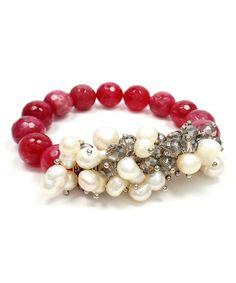 $9.99 Look what I found on #zulily! Pink Agate & Swarovski® Crystal Stretch Bracelet #zulilyfinds