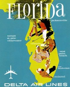 Vintage Fly Delta poster from 1961! Even then St. Pete was a destination to be mentioned.