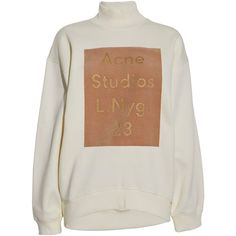 Acne Beta Flock printet oversize sweatshirt (€230) ❤ liked on Polyvore featuring tops, hoodies, sweatshirts, sweaters, jumpers, cream, long tops, pattern tops, oversized tops and sweatshirts hoodies