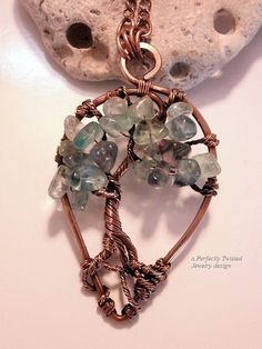 Wire Wrapped Tree of Life Pendant Necklace, Fluorite Bonsai, Handmade, Antiqued Copper, Wire Wrap Tree Jewelry