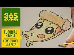 COMO DIBUJAR UNA PIZZA KAWAII PASO A PASO - Dibujos kawaii faciles - How to draw a Pizza, My Crafts