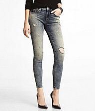 MID RISE DESTROYED ANKLE JEAN LEGGING. Just bought this pair and I am inlove!