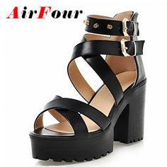 766d7ba98 48% СКИДКА ENMAYLA/Большие размеры 34 43, женские сандалии гладиаторы,  летние туфли на высоком квадратном каблуке с заклепками, босоножки на  толстой ...