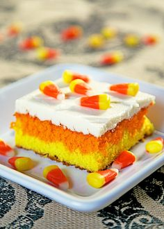 Candy Corn Cake - come learn the secret to getting perfect layers in a sheet cake