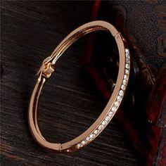 nice Hot Fashion Women 18k Gold Bangle Crystal Cuff Elegant Bracelet Jewelry Gift - For Sale