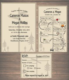 Printable Wedding Weekend in the Woods Invitation Kit - Invitation, Weekend Itinerary, RSVP Card